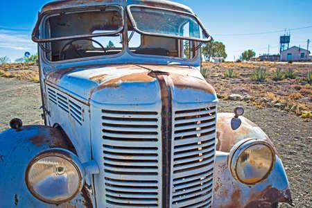 Antique truck showing opening windscreen