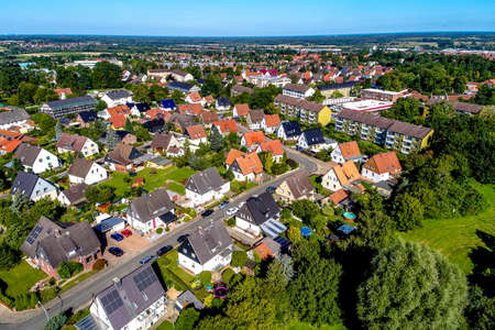 German suburb near Wolfsburg, aerial photo with the drone, single-family dwellings