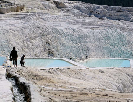 deposition: Vacation in Turkey, visit of the white patios and pools from Travertin in Pamukkale