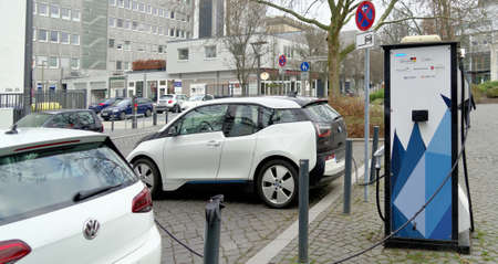 Brunswick, Lower Saxony, Germany, January 27,2018: Charging station for electric cars in Brunswick, Germany.