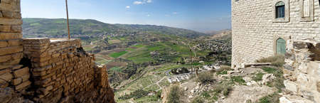 View from the Crusader castle to a small Jordanian village, a suburb of the big city Karak, middle east