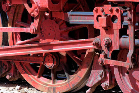 Detail of the steam locomotive, still in use, in the desert of Wadi Rum, Jordan, middle east