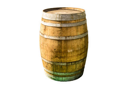 Exemplary old wooden barrel with iron rings and fixtures in front of a white clear background, isolated