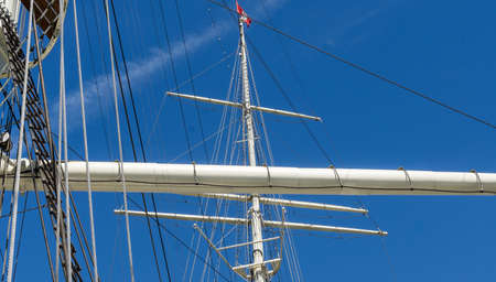 Masts and rigging of a large sailing ship in the Port of Hamburg, Germany Stok Fotoğraf