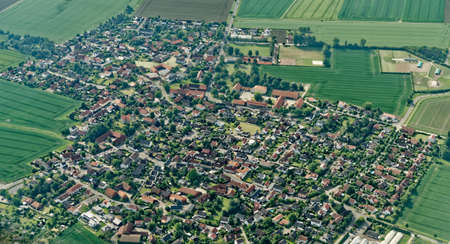Aerial view from a small aircraft 900 meters above sea level from a district of Salzgitter, Germany, lower saxony Фото со стока