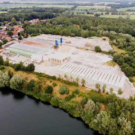 Aerial view of a concrete plant for the production of concrete, concrete pipes, sewer pipes, sewer shafts and walls for prefabricated houses, near Gifhorn, Germany