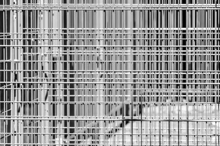 Abstract austere geometric pattern of iron bars, several barriers in front of a stadium, black and white Banco de Imagens