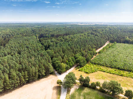 Aerial view of the typical landscape in northern Germany with an agricultural area bordering a piece of forest.