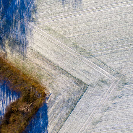 Aerial photograph of a field with a thin layer of snow carefully plowed in a geometrically rectangular shape, drone shot 版權商用圖片