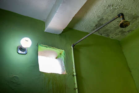 Ugly old shower in the washhouse of a Nubian guesthouse in Sudan