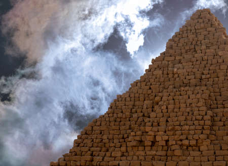 Pyramid of the Black Pharaohs of the Kush Empire in Sudan, with dramatic sky