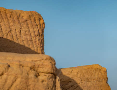 Close-up of the sandstones used to build the pyramids of the black pharaohs in Sudan