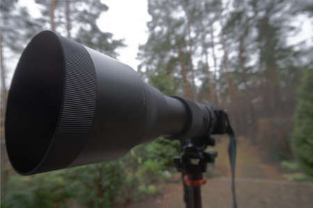 Long black zoom lens with focal length 150 mm to 600 mm on a mirrorless camera on a tripod, photography