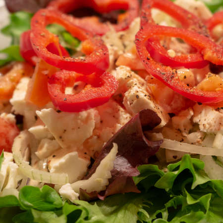 Mediterranean farmers salad with green salad leaves, red pepper and sheep cheese, food