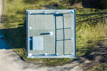 Vertical aerial photograph of a former watchtower at the inner-German border between the Federal Republic of Germany and the German Democratic Republic., Drone flight 免版税图像