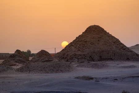 View of the pyramids of Karima, Sudan in the setting sun