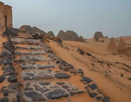 Stairway to Pyramid of the Black Pharaohs of the Kush Empire in Sudan, Meroe 版權商用圖片
