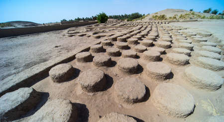 Column stumps in a large renovated archaeological site on the Nile, Sudan, Africa