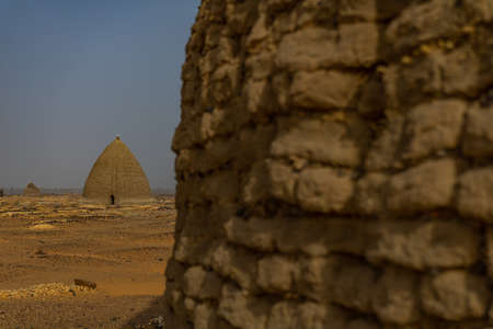 Tombs of Old Dongola Cemetery and Tombs in the North of the Sudanese Desert, Africa