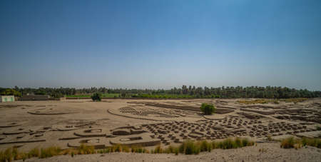 Panorama of Column stumps in a large renovated archaeological site on the Nile, Sudan, Africa