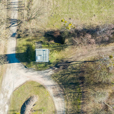 Vertical aerial photograph of a former watchtower at the inner-German border between the Federal Republic of Germany and the German Democratic Republic., Drone flight 版權商用圖片