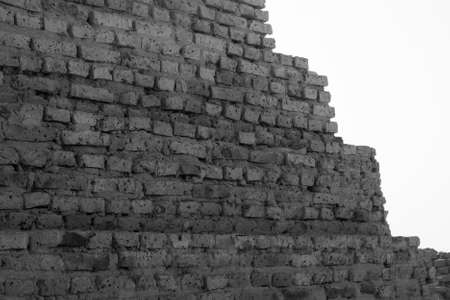 Abstract black and white photo of a pyramid in Sudan from close up, Africa