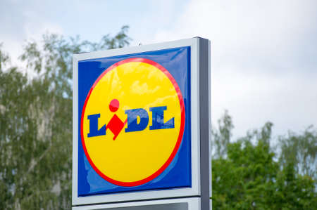 gehrig: VILNIUS, LITHUANIA - JULY 30, 2016: sign of Lidl supermarket. Lidl is a German discount supermarket chain that operates over 7200 stores worldwide. Lidl was founded in 1940s. Editorial
