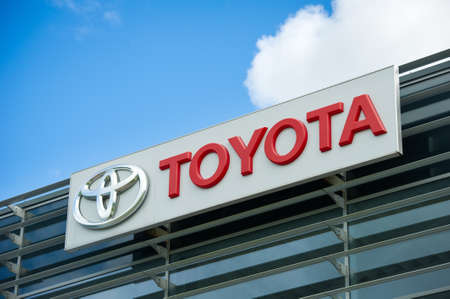 lexus auto: VILNIUS - AUGUST 7: Toyota logo on August 7, 2016 in Vilnius, Lithuania. Toyota Motor Corporation is a Japanese automotive manufacturer. It is the 13th-largest company in the world by revenue.