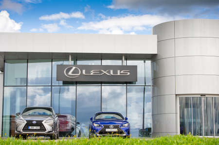 automaker: VILNIUS, LITHUANIA - AUGUST 7, 2016: Lexus show-room. Lexus is the luxury vehicle division of Japanese automaker Toyota. The Lexus marque is marketed in over 70 countries and territories worldwide.