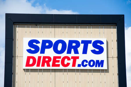 retailing: VILNIUS, LITHUANIA - AUGUST 7, 2016: Sports Direct logo. Sports Direct International plc is a British retailing group. Sports Direct is sports-goods retailer and operates roughly 670 stores worldwide.