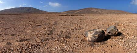 Panorama of rock and volcanic desert  Near Los Molinos, Fuerteventura, Canary Islands