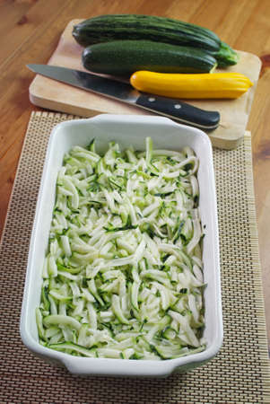 Making of courgette and feta souffle  Seasonal dish  Stock Photo - 15107249