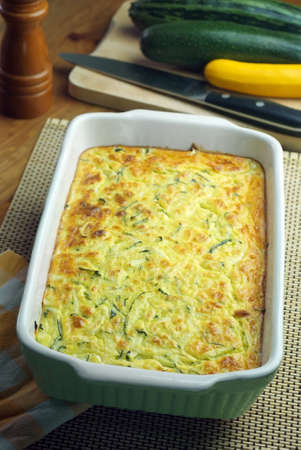 Courgette and feta souffle  Seasonal dish  photo