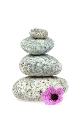 Pile of stones isolated on white background with a pink geranium flower  photo