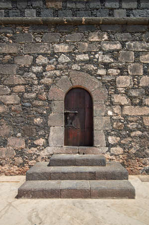 door bolt: Old wooden Renaissance castle doors from Castillo de San Gabriel Stock Photo