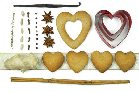 Composition of heart shape cookies and spices. Stock Photo - 17246610