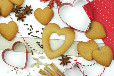 Composition of heart shape cookies and spices. Stock Photo - 17246615