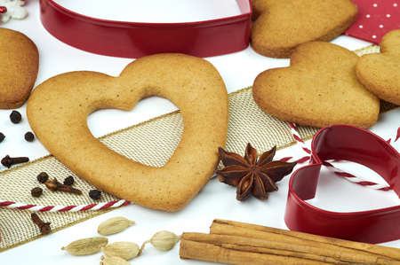 Composition of heart shape cookies and spices. Stock Photo - 17246611