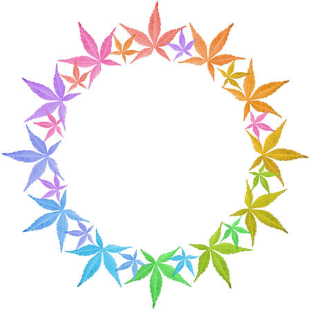 Circle frame of colorful leaves isolated on white. Leaves in rainbow colors. Copy space. Stock Photo - 17711301