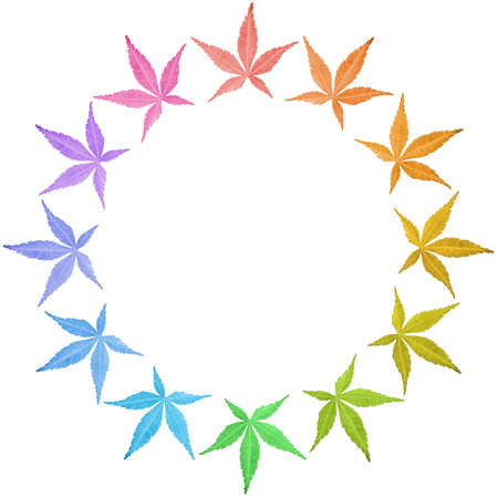 Circle frame of colorful leaves isolated on white. Leaves in rainbow colors. Copy space.  photo
