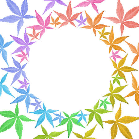 Circle frame of colorful leaves isolated on white. Leaves in rainbow colors. Copy space. Stock Photo - 17711293