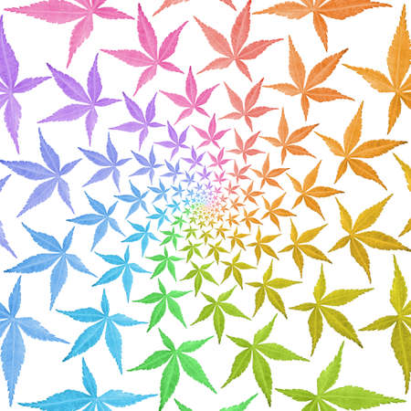 Swirl pattern of circle frames of colorful leaves isolated on white. Leaves in rainbow colors. photo
