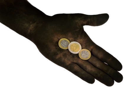 Euro coins lying on dirty hand  Isolated on white  Concept photo  photo
