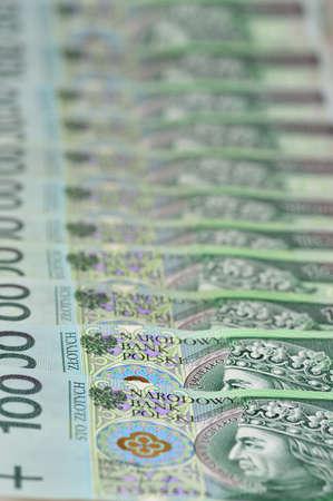 Polish banknotes laying in a row  100 PLN  Poland
