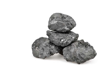 Small pile of coal isolated on white background