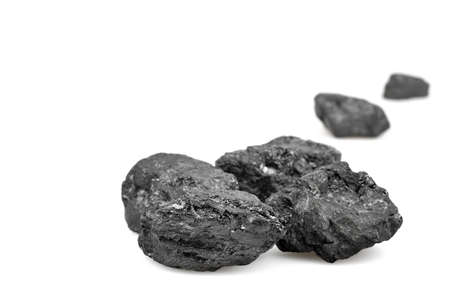 coal fire: Coals on white background  Copy space