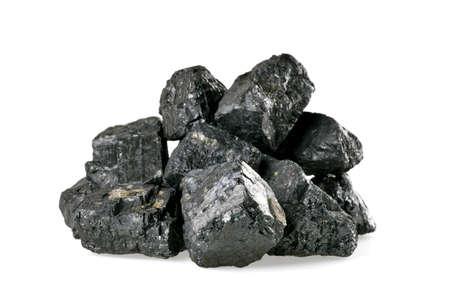 carbone: Mucchio di carbone isolato su sfondo bianco