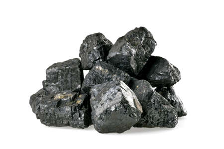 coal fire: Pile of coal isolated on white background