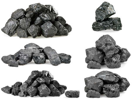 calorific: Set of piles of coal isolated on white background.