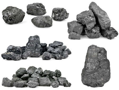 carbon pollution: Set of piles of coal isolated on white background.